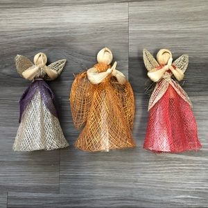 🌻Decorative Straw Hay Angel Figurines Set of 3